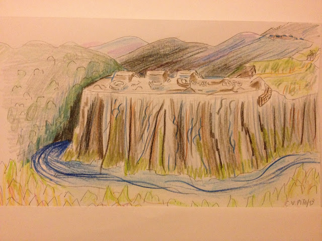Drawing by E.V.Pita (2013) Fort-hill of Vilar